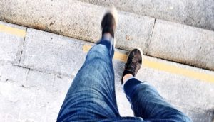 walking while looking down