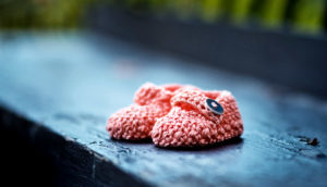 baby shoes on bench