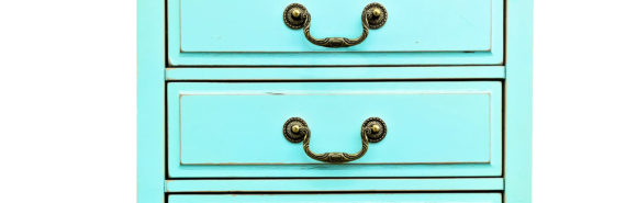 turquoise dresser on white