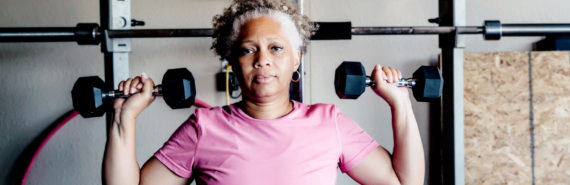 woman uses home gym - heart failure