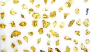 gold flakes on white - nanoporous gold