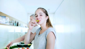 healthy food teen eating watermelon