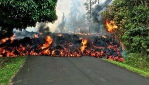 laval on road - kilauea volcano
