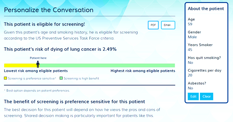 Website brings patients into lung cancer screening decisions