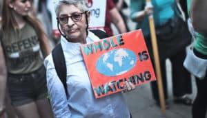 Paris Agreement protestor
