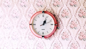 pink clock, floral wallpaper - breast cancer