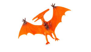 red pterodactyl toy on white