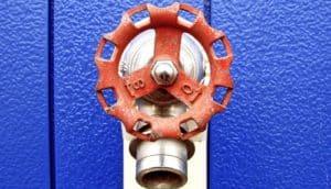 red valve against blue (nanoparticles concept)