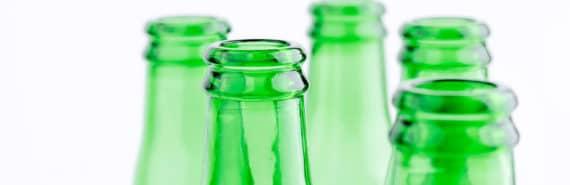 beer bottles on white (binge drinking concept)