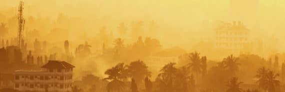Dar es Salaam at sunrise with smog