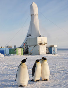 drilling rig and penguins