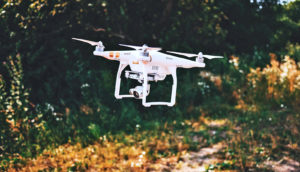 drone in rural setting (drones concept)