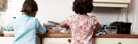 two girls in kitchen - WIC