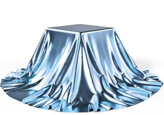 box under shiny blue cloth - hidden state of matter