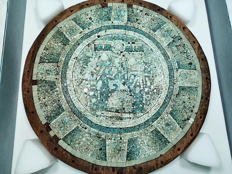turquoise mosaic shield