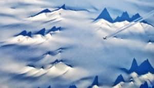 plane flies over Antarctica