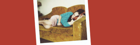 polaroid of woman on couch on red - big data