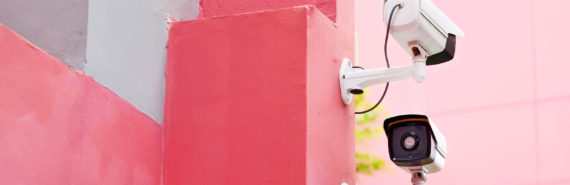 public cameras on pink wall