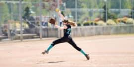 softball pitcher lunging