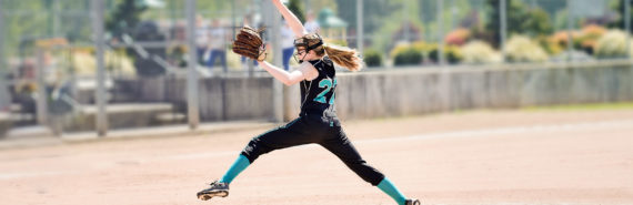 softball pitcher lunging