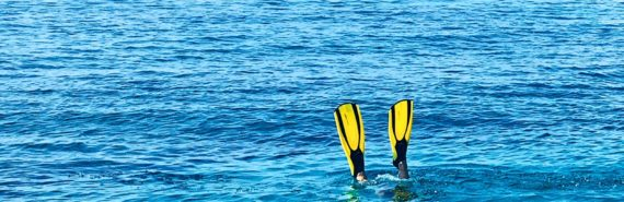 swim fins sticking out of the ocean