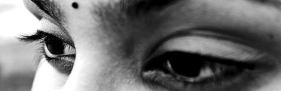 woman's eyes in grayscale