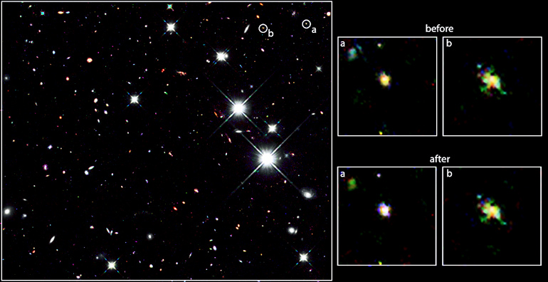 The color composite image on the left is taken in near-infrared light and shows the location of the two candidate galaxies initially thought to be at a distance of more than 13.2 billion light-years from Earth. The close-up images on the right show a zoom-in of the two galaxies. The top row uses data from the initial discovery, while the bottom row shows the colors using additional, more precise observations. Based on data taken with the NASA/ESA Hubble Space Telescope. (Credit: R Livermore, M Trenti, and the BoRG team via U. Melbourne)