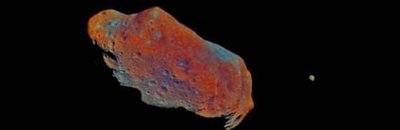 false color image of asteroid IDA