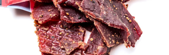 beef jerky on white