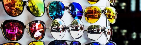 colorful sunglasses rack (flat-panel displays concept)