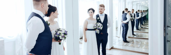 couple on wedding day (memories concept)