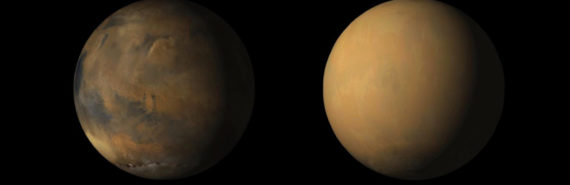 dust on Mars - before and after storm