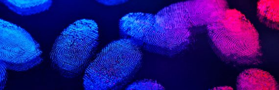 blue and pink fingerprints (personalized medicine concept)