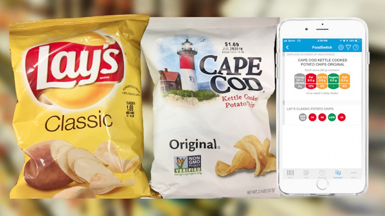 food switch app on phone w/bags of chips