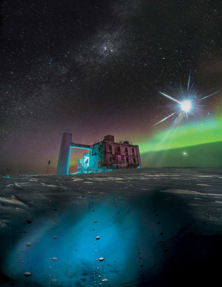 illustration of IceCube lab and neutrinos under ice