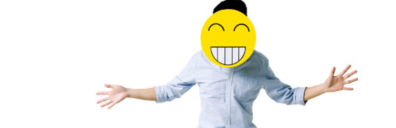 jumping person in happy emoji mask - jobseeker