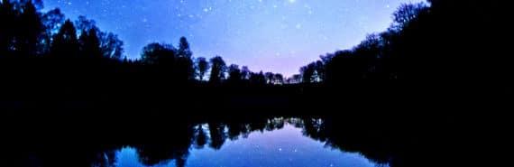 lake reflecting stars (billion-year-old lake concept)