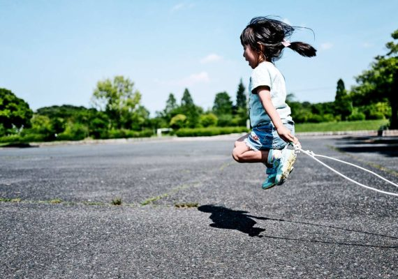 little girl jumping rope (molecular machines concept)