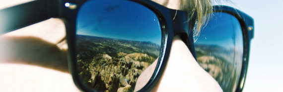 bryce canyon national park reflected in sunglasses