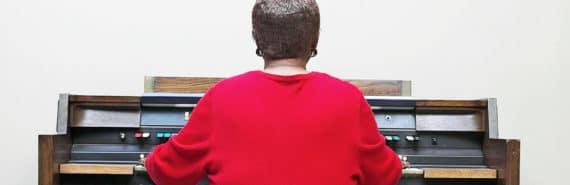 woman playing organ - osteoporosis