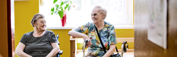 two older women talking (senior housing concept)