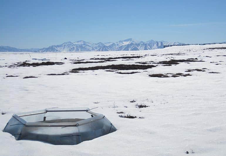 enclosure in snow in Alaska