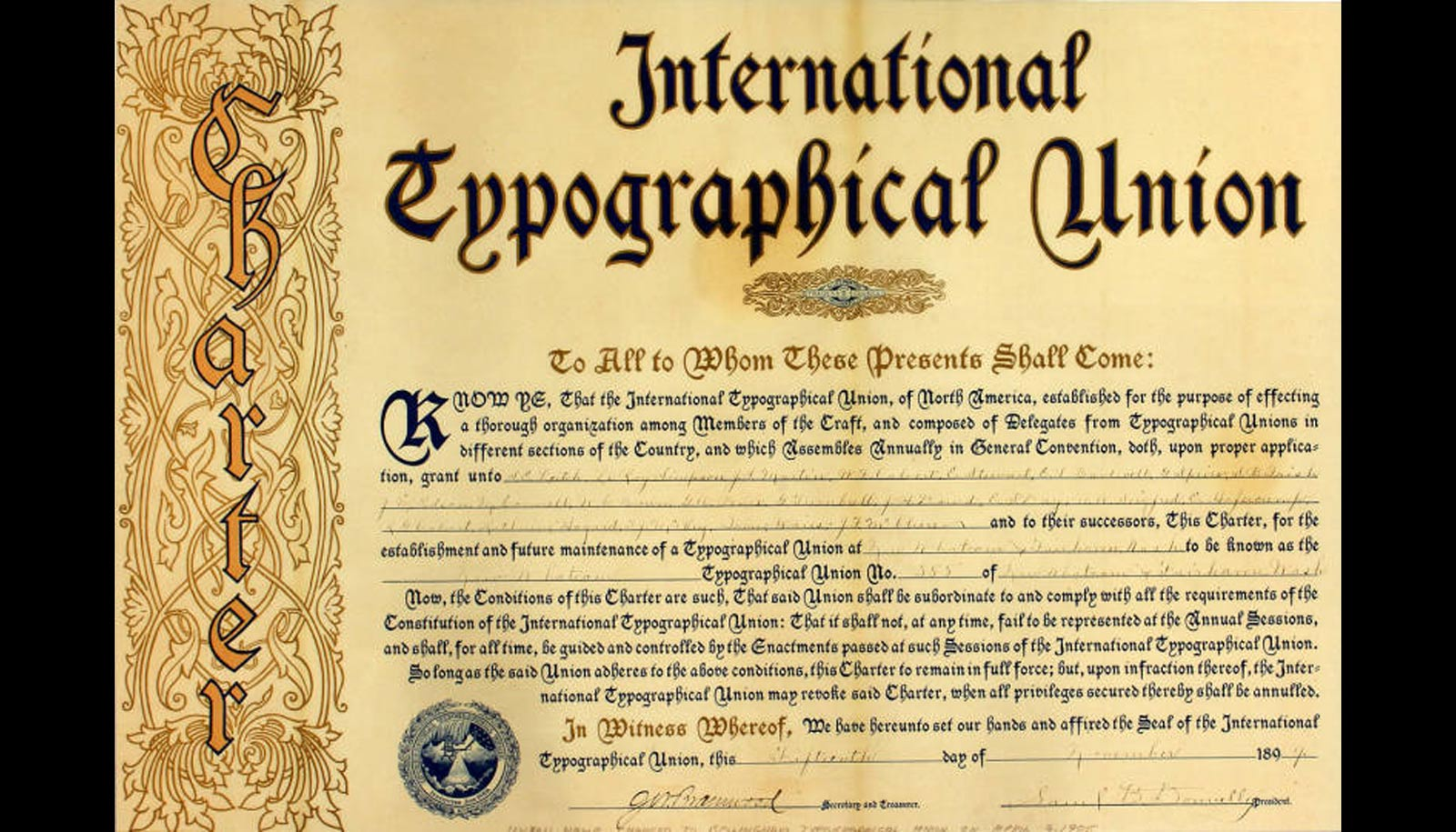 international typographical union charter