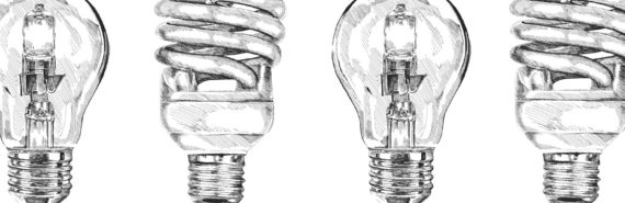 bw newspaper-style drawings of lightbulbs - science media monitor