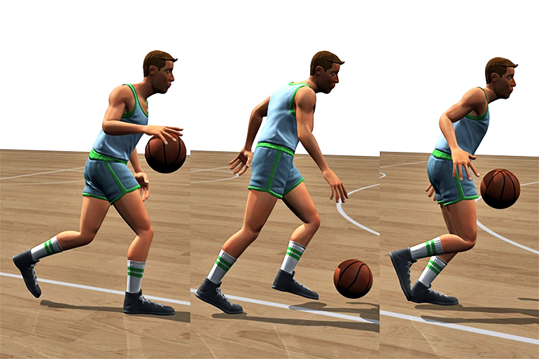 digital basketball player dribbling