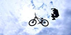flying bike, falling teen (impulsive behavior concept)