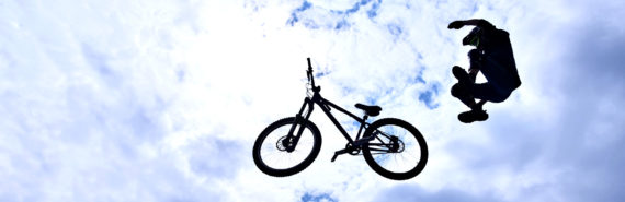 flying bike, falling teen (impulsive behavior concept)