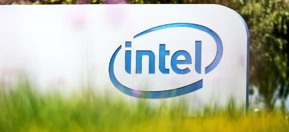 intel sign behind grass