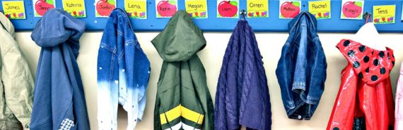 kids names and coats on wall - obesity in kindergarten