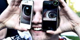 looking through phones (online dating concept)